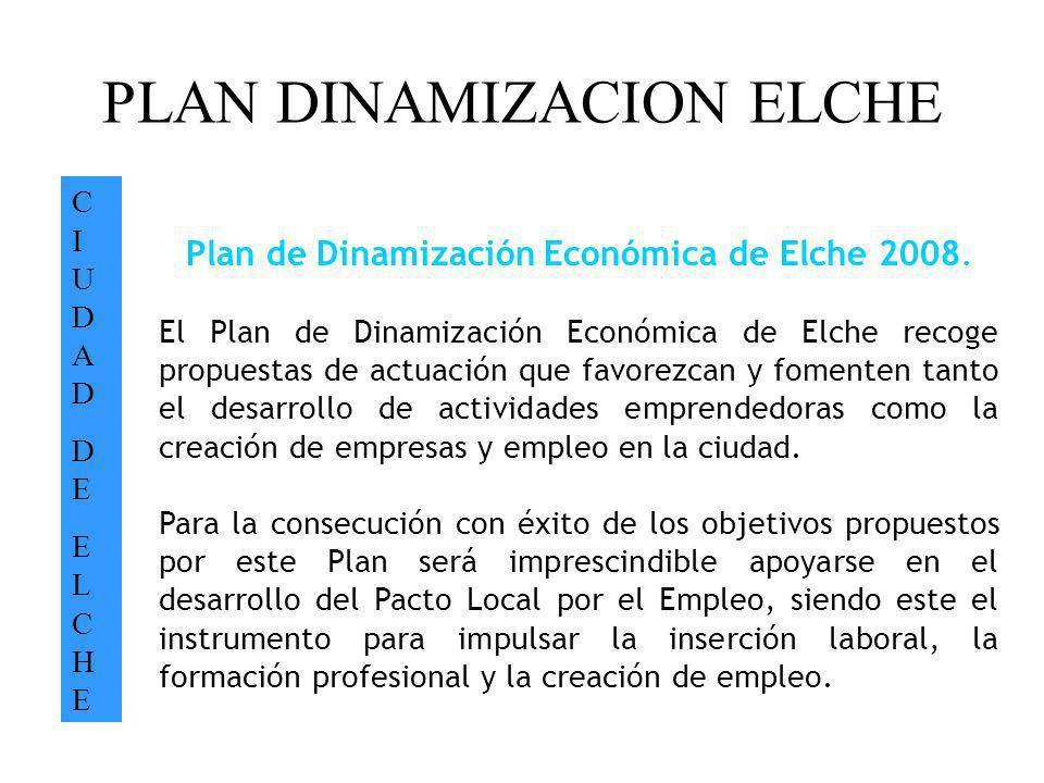 PLAN DINAMIZACION ELCHE CIUDADDEELCHECIUDADDEELCHE Plan de Dinamización Económica de Elche 2008. El Plan de Dinamización Económica de Elche recoge pro