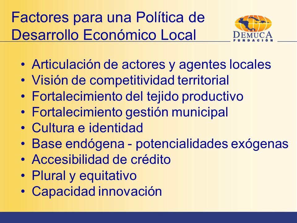 Factores para una Política de Desarrollo Económico Local Articulación de actores y agentes locales Visión de competitividad territorial Fortalecimient