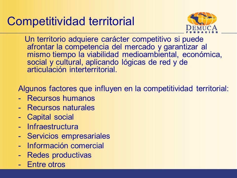 Competitividad territorial Un territorio adquiere carácter competitivo si puede afrontar la competencia del mercado y garantizar al mismo tiempo la vi