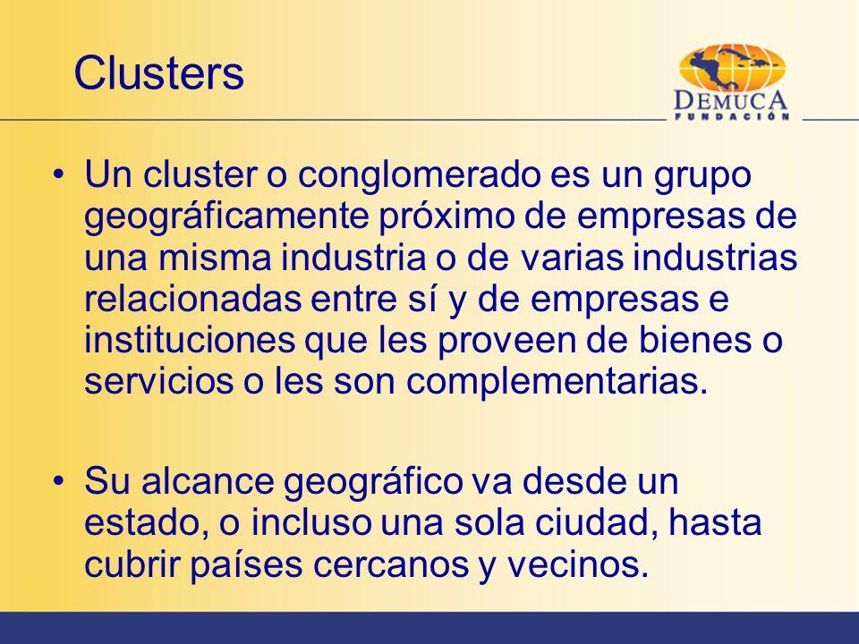 Clusters Un cluster o conglomerado es un grupo geográficamente próximo de empresas de una misma industria o de varias industrias relacionadas entre sí