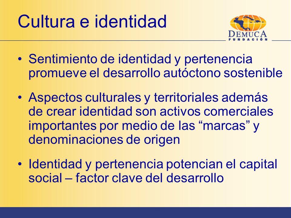 Cultura e identidad Sentimiento de identidad y pertenencia promueve el desarrollo autóctono sostenible Aspectos culturales y territoriales además de c
