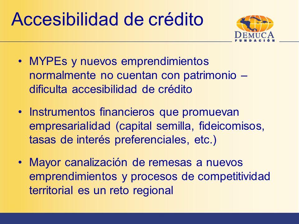 Accesibilidad de crédito MYPEs y nuevos emprendimientos normalmente no cuentan con patrimonio – dificulta accesibilidad de crédito Instrumentos financ