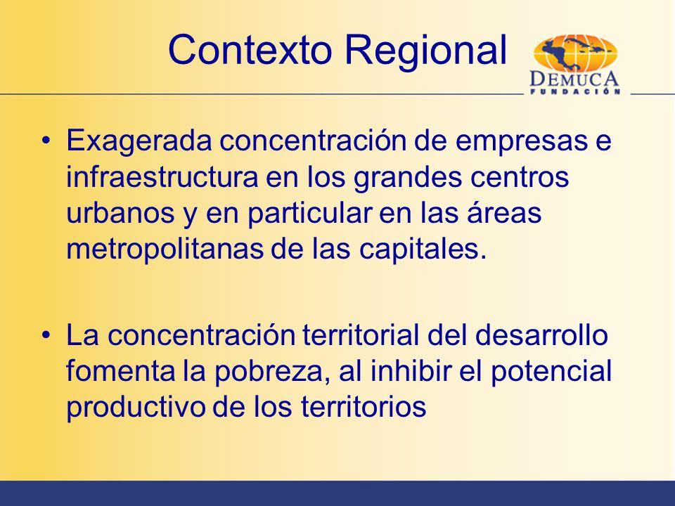 Contexto Regional Exagerada concentración de empresas e infraestructura en los grandes centros urbanos y en particular en las áreas metropolitanas de