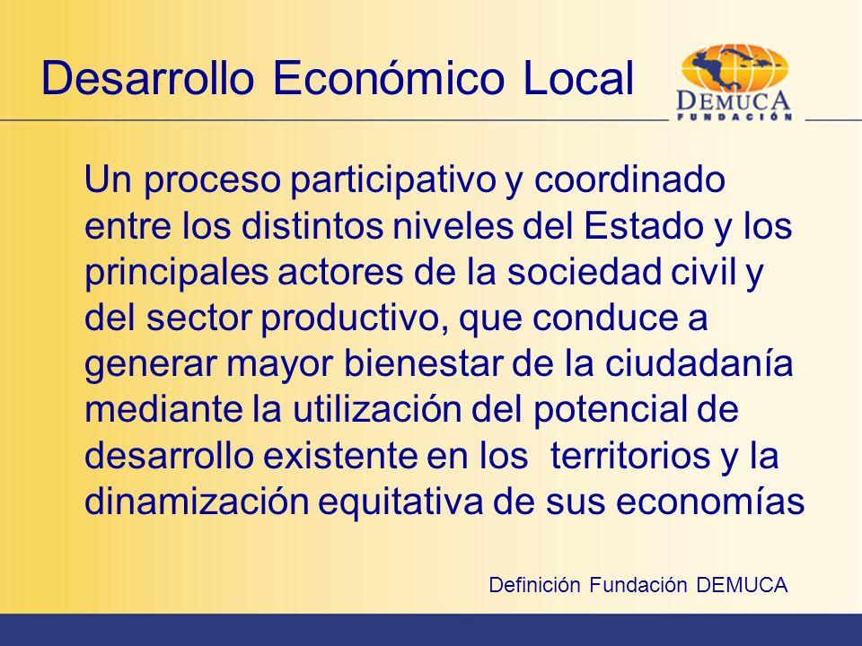 Base endógena - potencialidades exógenas Desarrollo local basado en la utilización eficiente de recursos humanos, naturales, culturales, sociales, geográficos, etc.