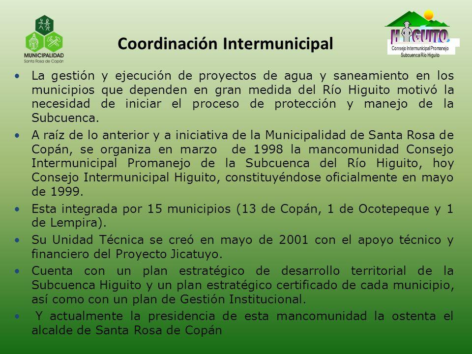 Coordinación Intermunicipal La gestión y ejecución de proyectos de agua y saneamiento en los municipios que dependen en gran medida del Río Higuito mo