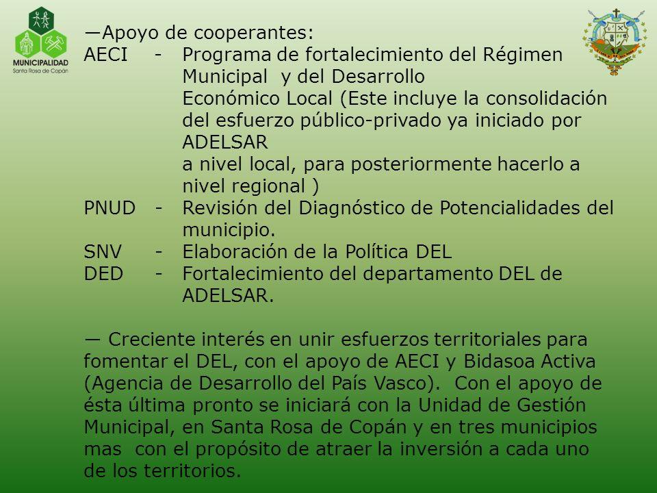 Apoyo de cooperantes: AECI - Programa de fortalecimiento del Régimen Municipal y del Desarrollo Económico Local (Este incluye la consolidación del esf