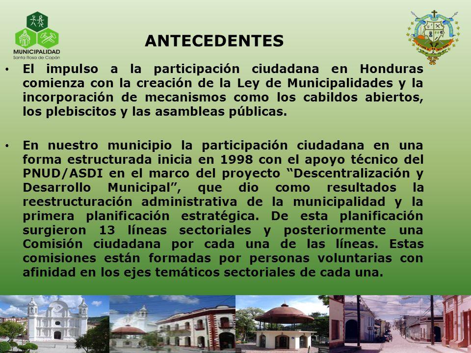 ANTECEDENTES El impulso a la participación ciudadana en Honduras comienza con la creación de la Ley de Municipalidades y la incorporación de mecanismo
