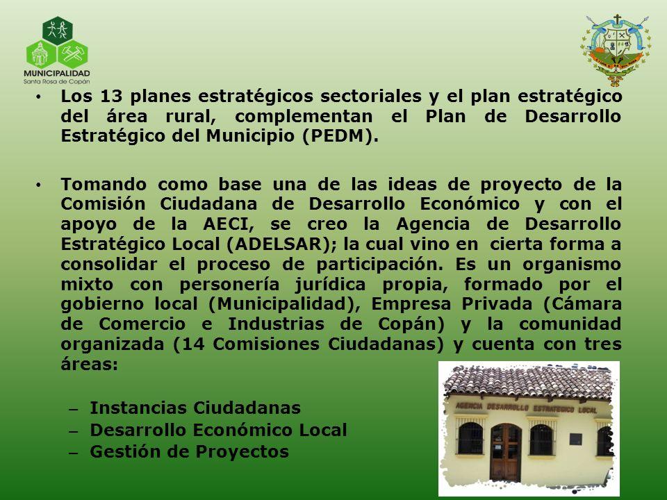 Los 13 planes estratégicos sectoriales y el plan estratégico del área rural, complementan el Plan de Desarrollo Estratégico del Municipio (PEDM). Toma