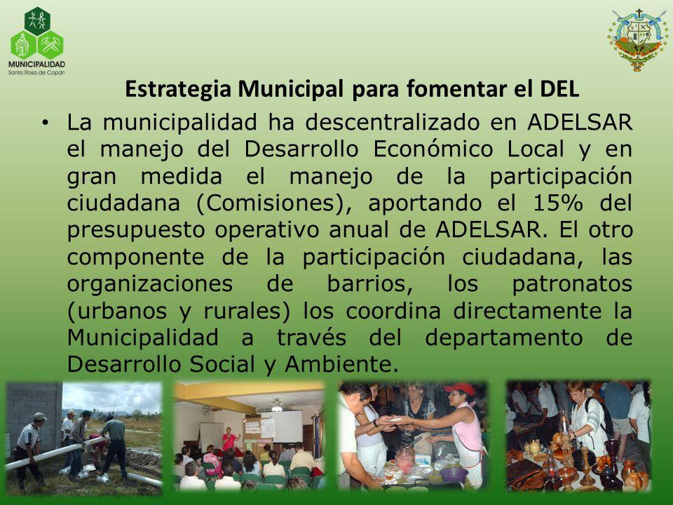 La municipalidad ha descentralizado en ADELSAR el manejo del Desarrollo Económico Local y en gran medida el manejo de la participación ciudadana (Comi