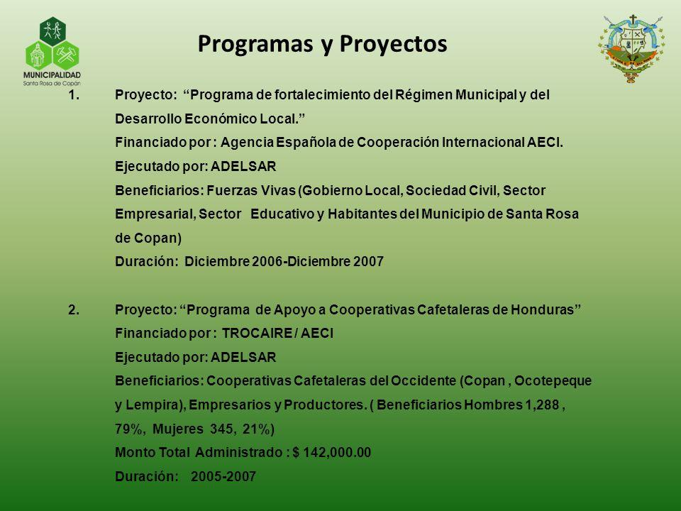 1.Proyecto: Programa de fortalecimiento del Régimen Municipal y del Desarrollo Económico Local. Financiado por : Agencia Española de Cooperación Inter