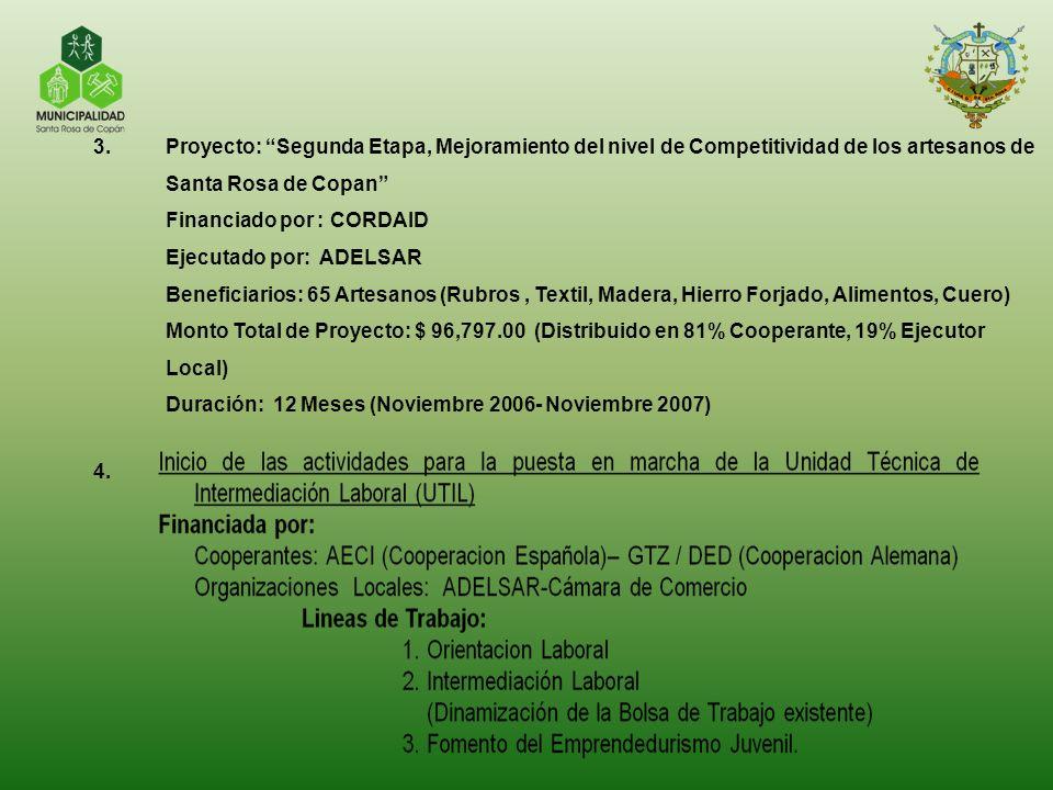 3.Proyecto: Segunda Etapa, Mejoramiento del nivel de Competitividad de los artesanos de Santa Rosa de Copan Financiado por : CORDAID Ejecutado por: AD