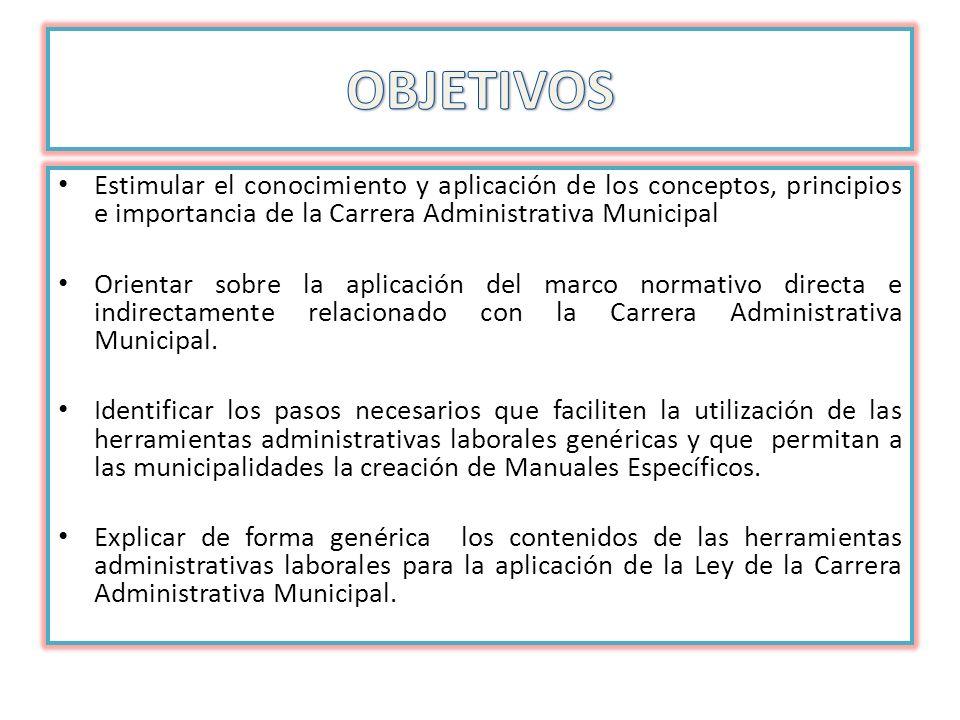 Estimular el conocimiento y aplicación de los conceptos, principios e importancia de la Carrera Administrativa Municipal Orientar sobre la aplicación