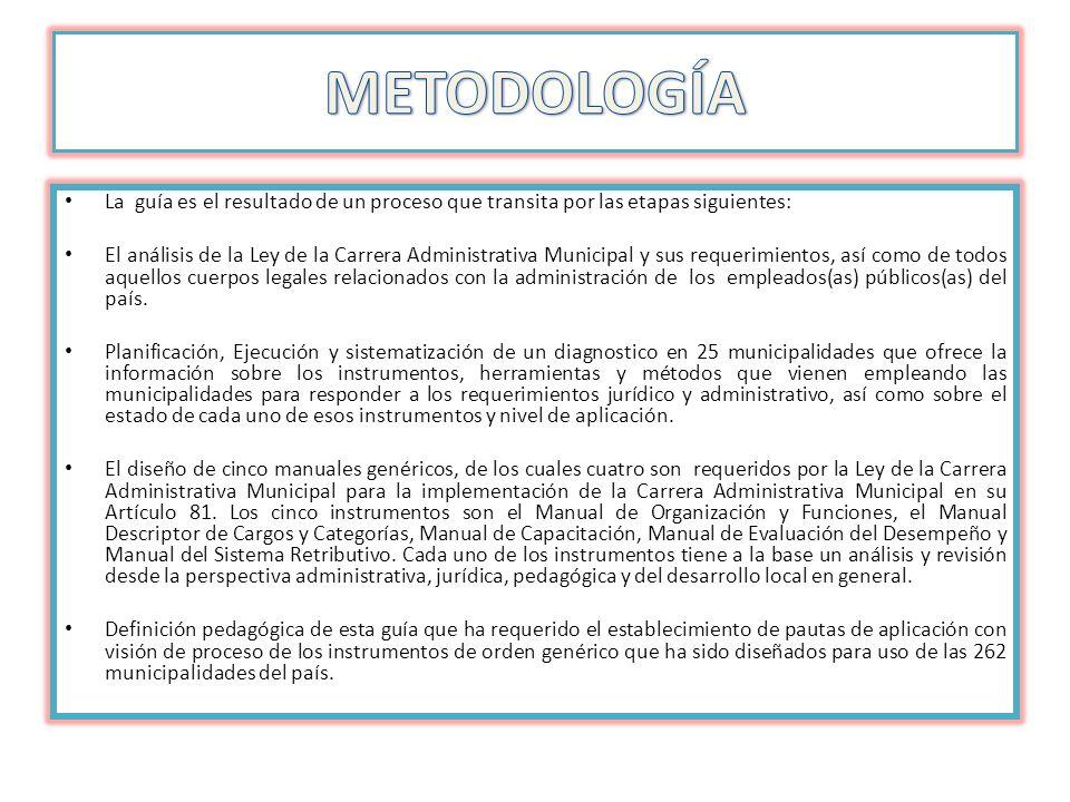 La guía es el resultado de un proceso que transita por las etapas siguientes: El análisis de la Ley de la Carrera Administrativa Municipal y sus reque