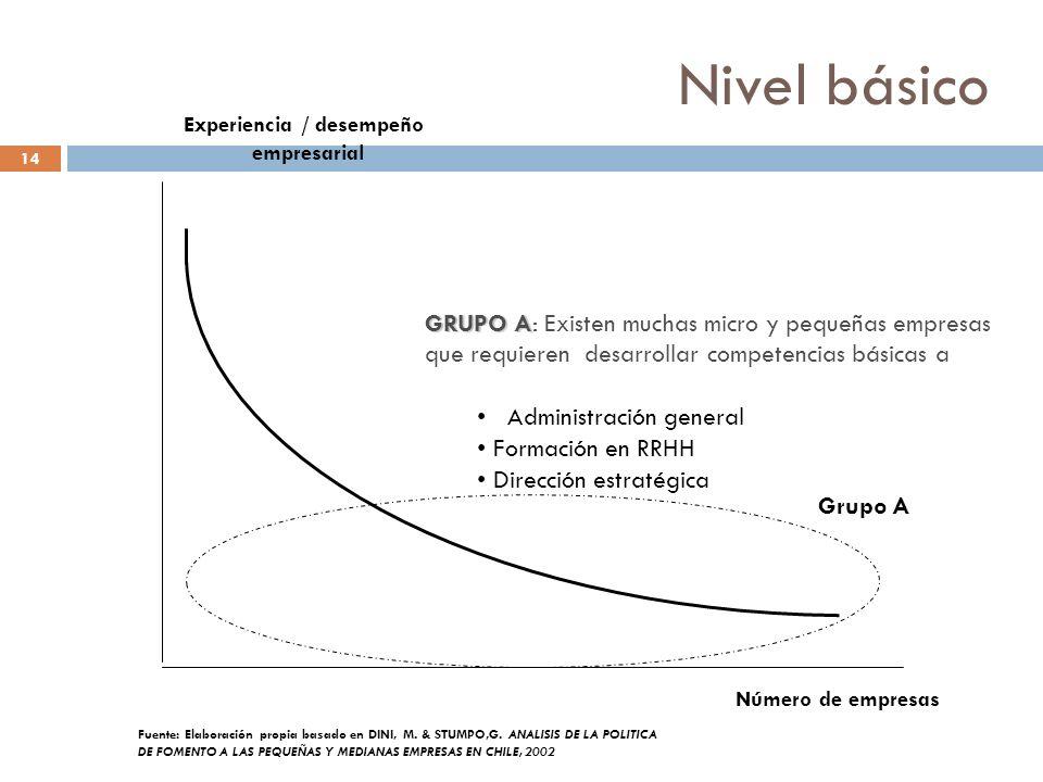 Nivel básico 14 Número de empresas Experiencia / desempeño empresarial Grupo A Fuente: Elaboración propia basado en DINI, M. & STUMPO,G. ANALISIS DE L