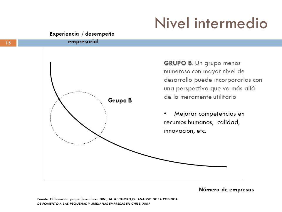 Nivel intermedio 15 Número de empresas Experiencia / desempeño empresarial Grupo B Fuente: Elaboración propia basado en DINI, M. & STUMPO,G. ANALISIS