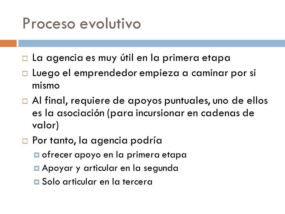 Proceso evolutivo La agencia es muy útil en la primera etapa Luego el emprendedor empieza a caminar por si mismo Al final, requiere de apoyos puntuale
