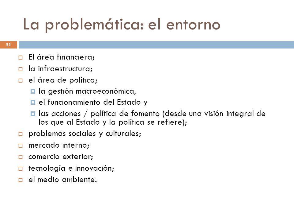 La problemática: el entorno El área financiera; la infraestructura; el área de política; la gestión macroeconómica, el funcionamiento del Estado y las
