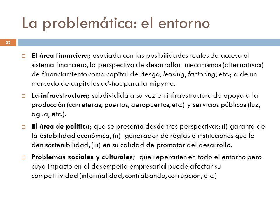 La problemática: el entorno El área financiera; asociada con las posibilidades reales de acceso al sistema financiero, la perspectiva de desarrollar m