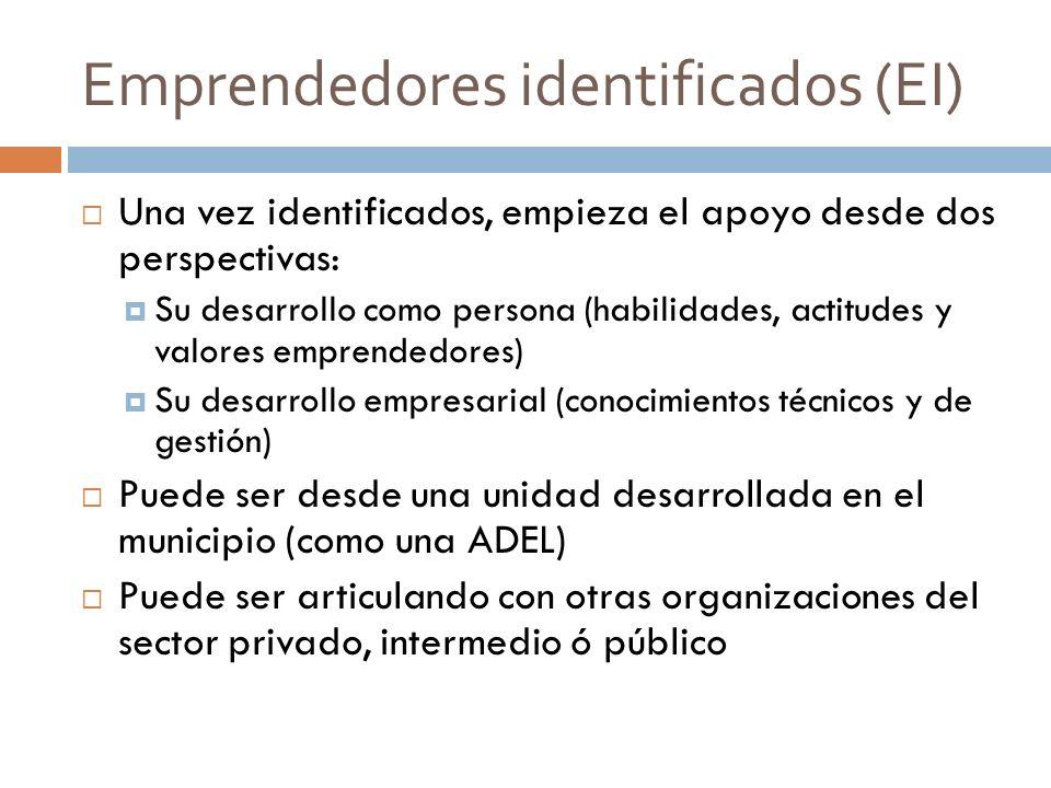 Emprendedores identificados (EI) Una vez identificados, empieza el apoyo desde dos perspectivas: Su desarrollo como persona (habilidades, actitudes y