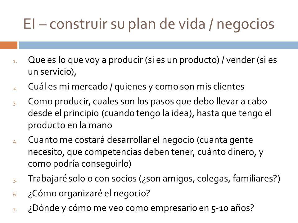 EI – construir su plan de vida / negocios 1. Que es lo que voy a producir (si es un producto) / vender (si es un servicio), 2. Cuál es mi mercado / qu