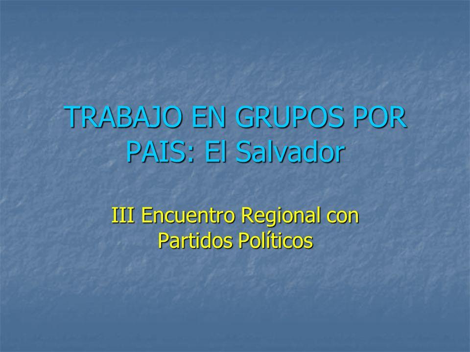 TRABAJO EN GRUPOS POR PAIS: El Salvador III Encuentro Regional con Partidos Políticos