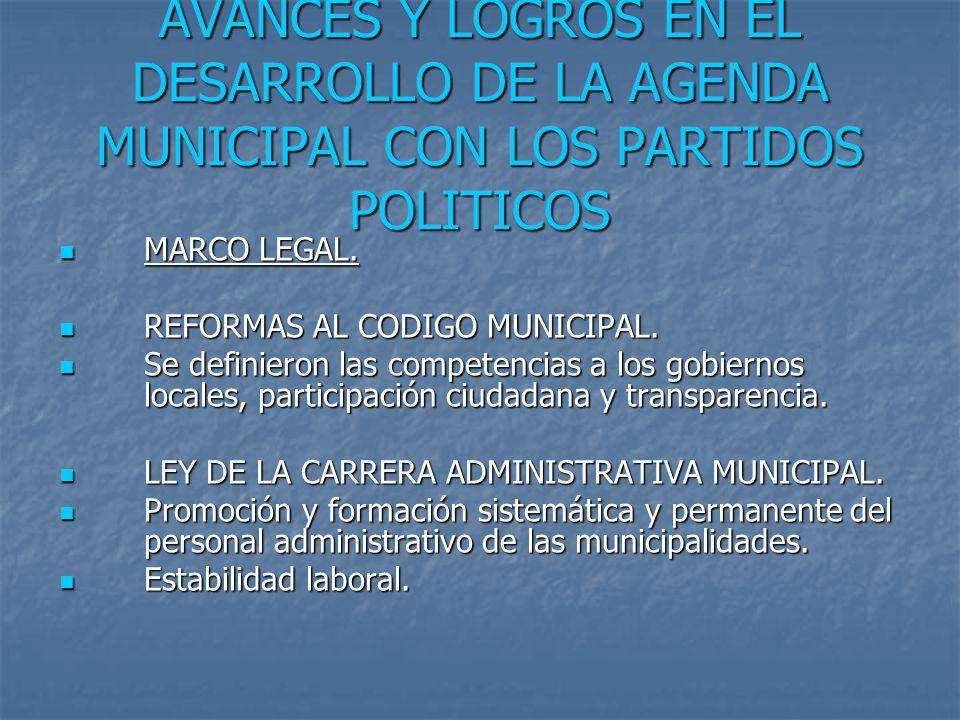 AVANCES Y LOGROS EN EL DESARROLLO DE LA AGENDA MUNICIPAL CON LOS PARTIDOS POLITICOS MARCO LEGAL.