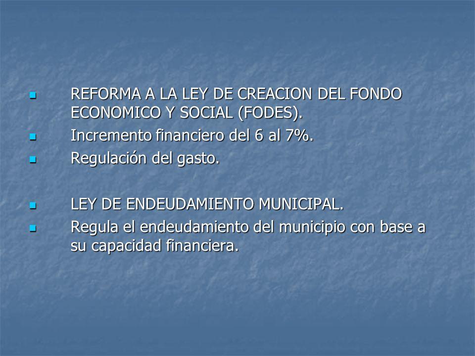 REFORMA A LA LEY DE CREACION DEL FONDO ECONOMICO Y SOCIAL (FODES).