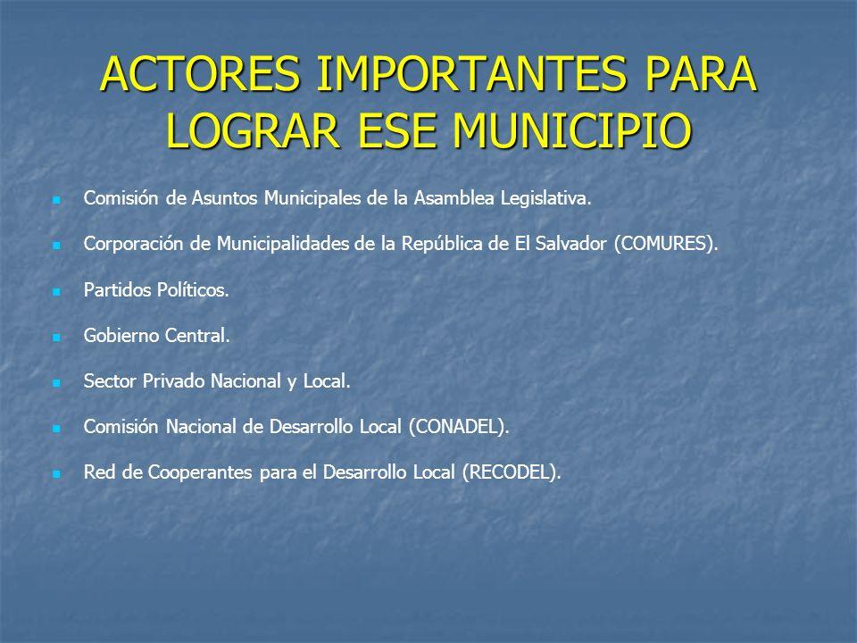 ACTORES IMPORTANTES PARA LOGRAR ESE MUNICIPIO Comisión de Asuntos Municipales de la Asamblea Legislativa.