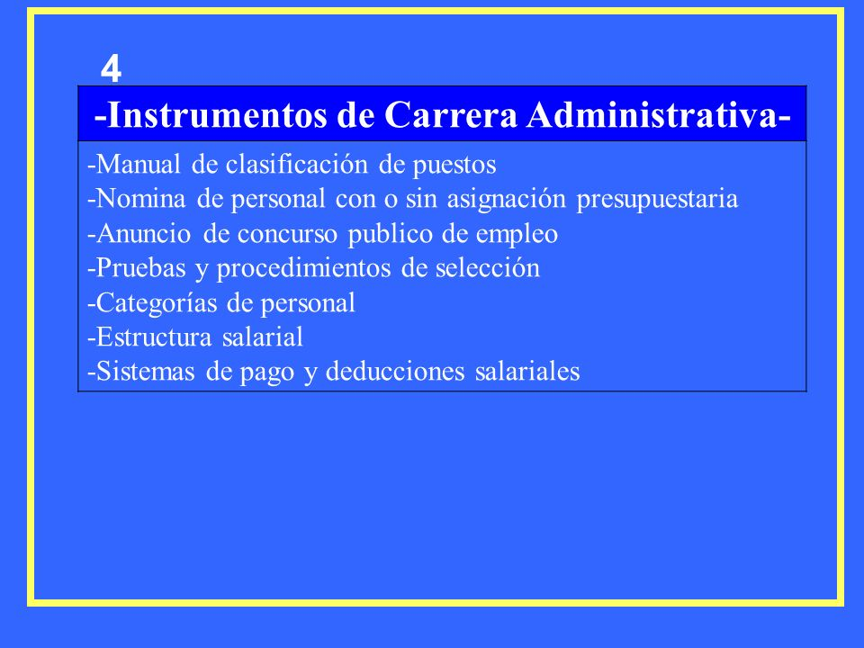 4 -Instrumentos de Carrera Administrativa- -Manual de clasificación de puestos -Nomina de personal con o sin asignación presupuestaria -Anuncio de con