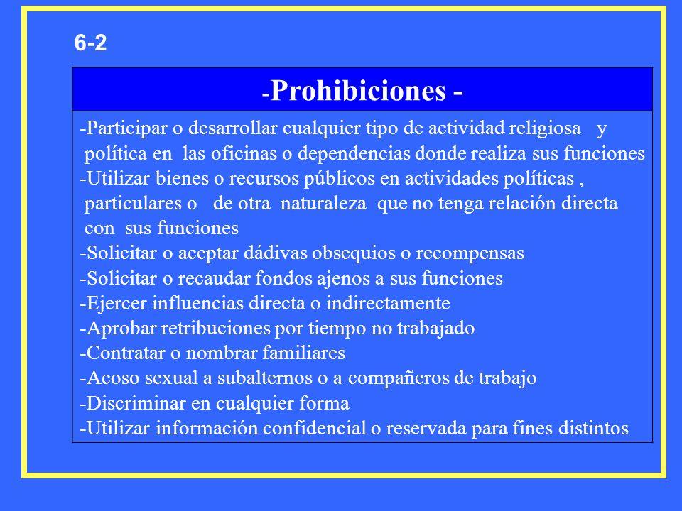6-2 - Prohibiciones - -Participar o desarrollar cualquier tipo de actividad religiosa y política en las oficinas o dependencias donde realiza sus func