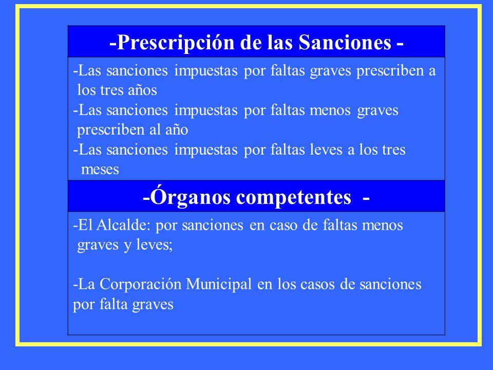 -Prescripción de las Sanciones - -Las sanciones impuestas por faltas graves prescriben a los tres años -Las sanciones impuestas por faltas menos grave