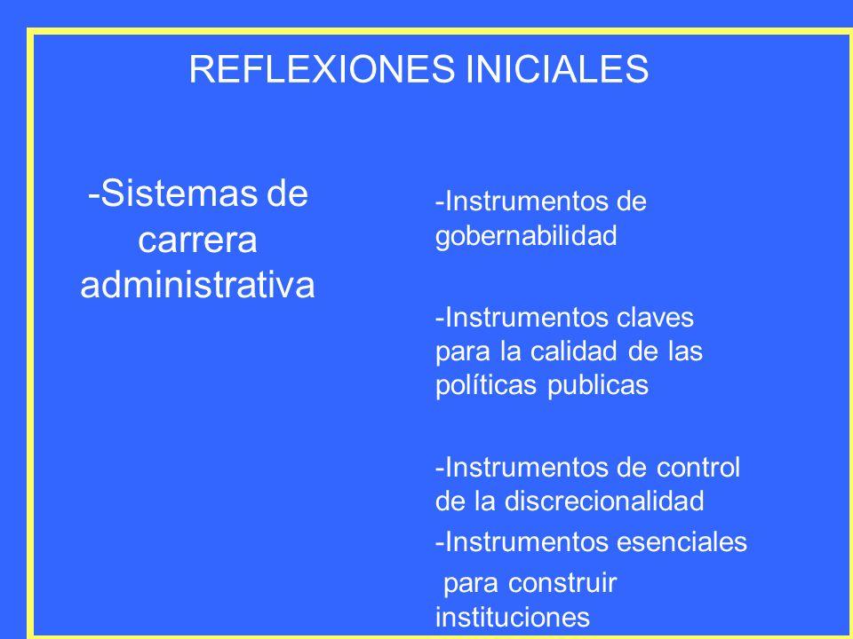 REFLEXIONES INICIALES -Sistemas de carrera administrativa -Instrumentos de gobernabilidad -Instrumentos claves para la calidad de las políticas public