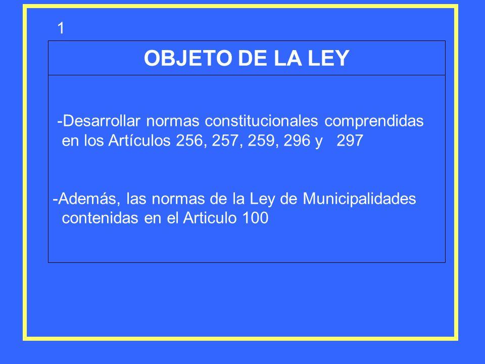 OBJETO DE LA LEY -Desarrollar normas constitucionales comprendidas en los Artículos 256, 257, 259, 296 y 297 -Además, las normas de la Ley de Municipa