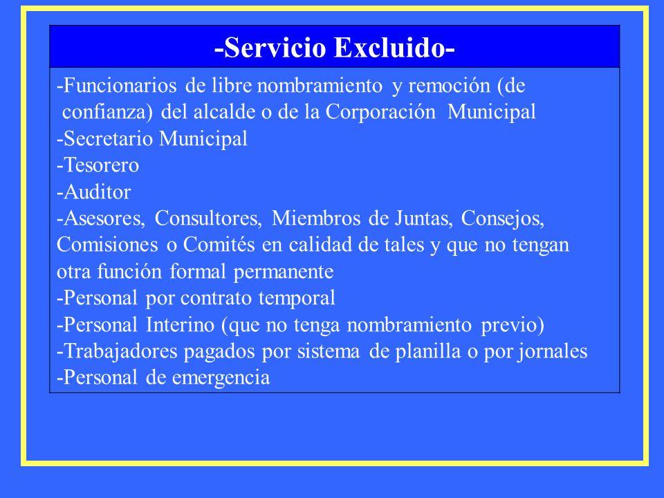 -Servicio Excluido- -Funcionarios de libre nombramiento y remoción (de confianza) del alcalde o de la Corporación Municipal -Secretario Municipal -Tes