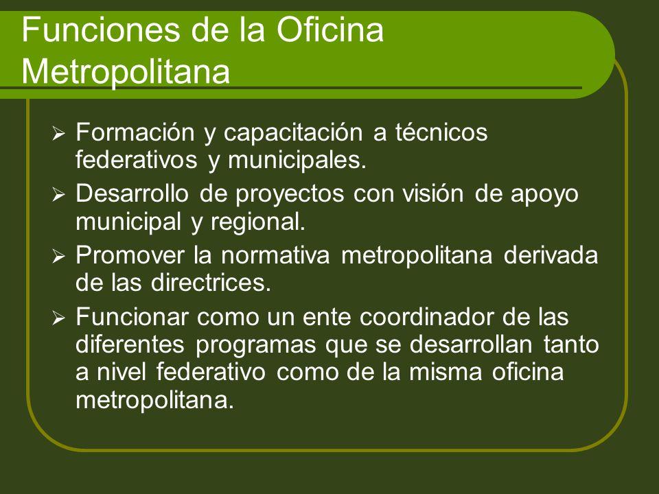 Funciones de la Oficina Metropolitana Formación y capacitación a técnicos federativos y municipales.