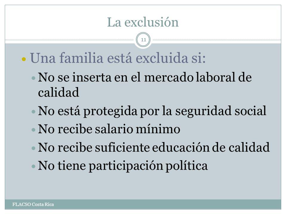 La exclusión Una familia está excluida si: No se inserta en el mercado laboral de calidad No está protegida por la seguridad social No recibe salario mínimo No recibe suficiente educación de calidad No tiene participación política 11 FLACSO Costa Rica