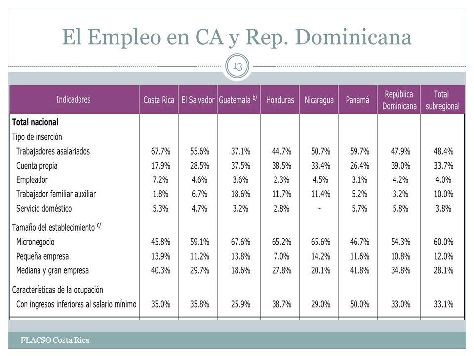 El Empleo en CA y Rep. Dominicana 13 FLACSO Costa Rica