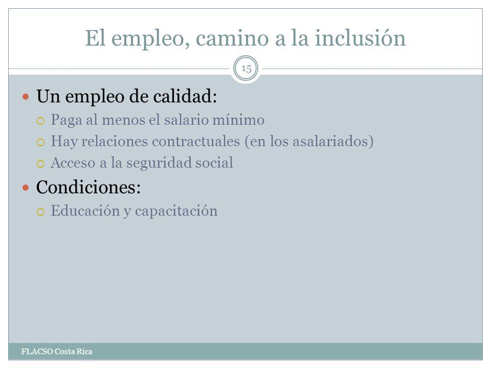 El empleo, camino a la inclusión Un empleo de calidad: Paga al menos el salario mínimo Hay relaciones contractuales (en los asalariados) Acceso a la seguridad social Condiciones: Educación y capacitación 15 FLACSO Costa Rica