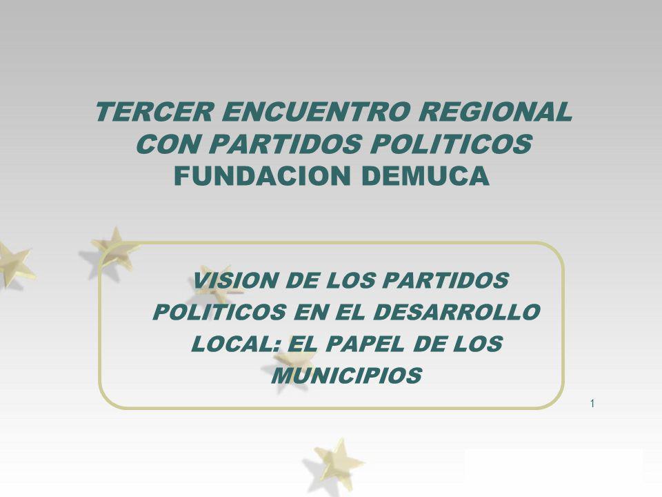 1 TERCER ENCUENTRO REGIONAL CON PARTIDOS POLITICOS FUNDACION DEMUCA VISION DE LOS PARTIDOS POLITICOS EN EL DESARROLLO LOCAL: EL PAPEL DE LOS MUNICIPIO