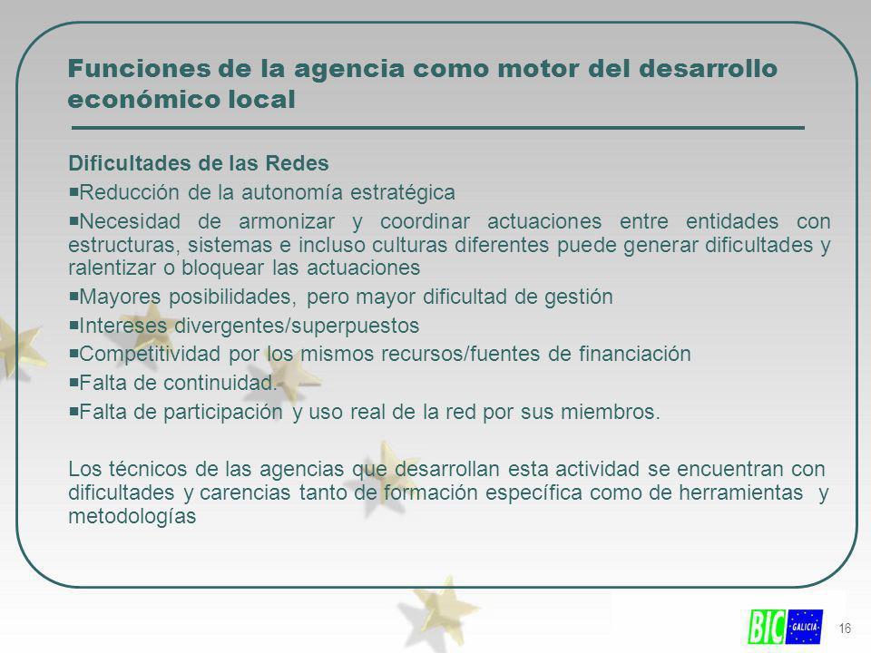16 Funciones de la agencia como motor del desarrollo económico local Dificultades de las Redes Reducción de la autonomía estratégica Necesidad de armo