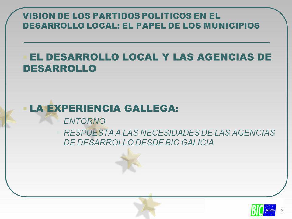 2 EL DESARROLLO LOCAL Y LAS AGENCIAS DE DESARROLLO LA EXPERIENCIA GALLEGA : ENTORNO RESPUESTA A LAS NECESIDADES DE LAS AGENCIAS DE DESARROLLO DESDE BI