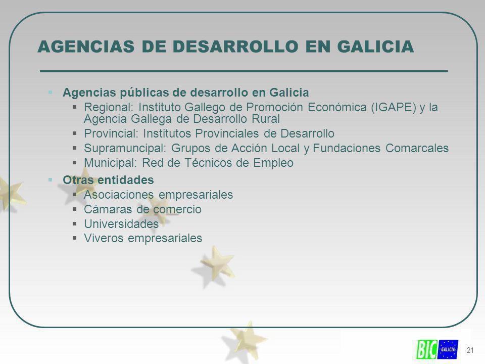 21 AGENCIAS DE DESARROLLO EN GALICIA Agencias públicas de desarrollo en Galicia Regional: Instituto Gallego de Promoción Económica (IGAPE) y la Agenci
