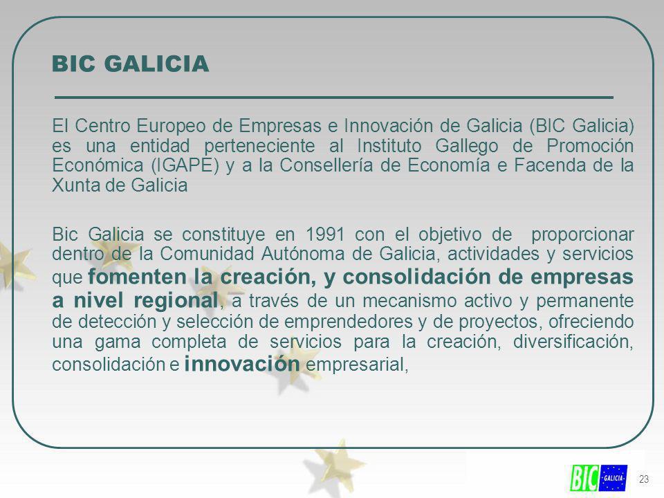 23 BIC GALICIA El Centro Europeo de Empresas e Innovación de Galicia (BIC Galicia) es una entidad perteneciente al Instituto Gallego de Promoción Econ