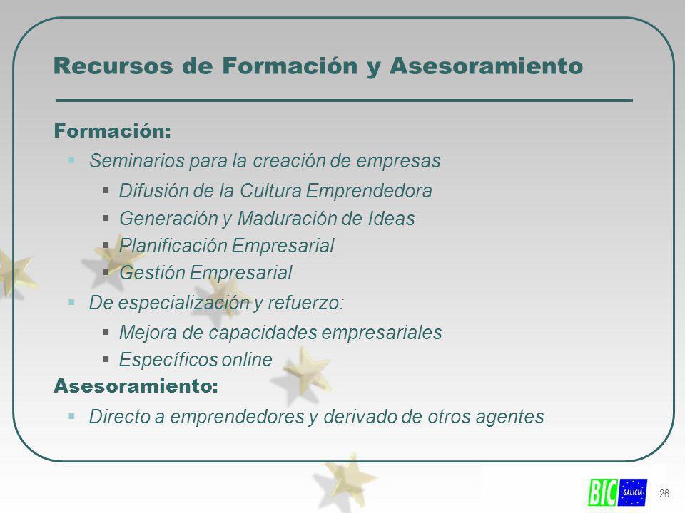 26 Recursos de Formación y Asesoramiento Formación: Seminarios para la creación de empresas Difusión de la Cultura Emprendedora Generación y Maduració