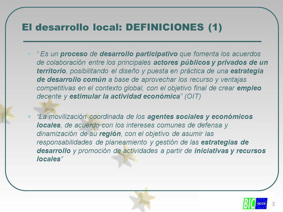 3 El desarrollo local: DEFINICIONES (1) Es un proceso de desarrollo participativo que fomenta los acuerdos de colaboración entre los principales actor