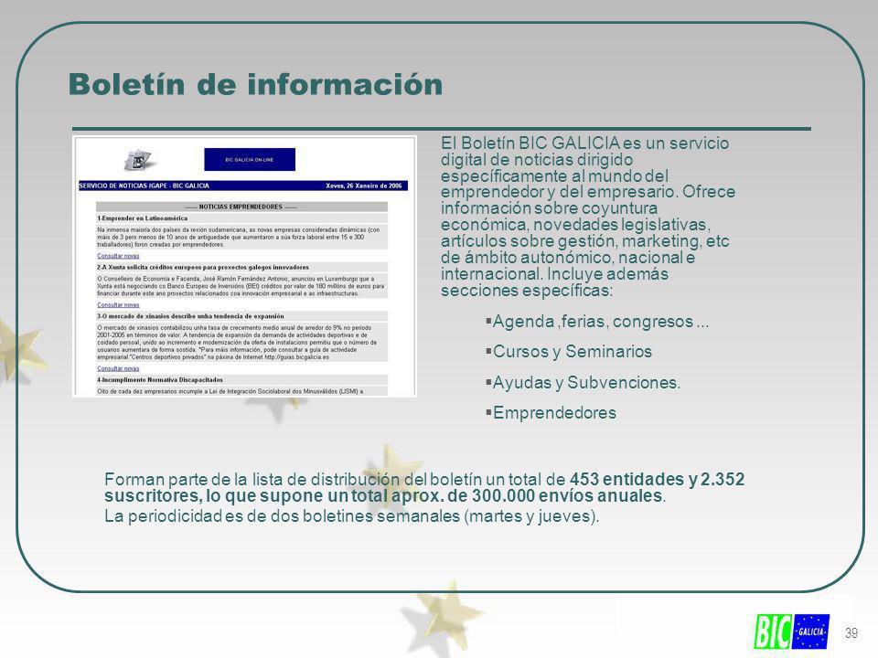 39 Boletín de información El Boletín BIC GALICIA es un servicio digital de noticias dirigido específicamente al mundo del emprendedor y del empresario