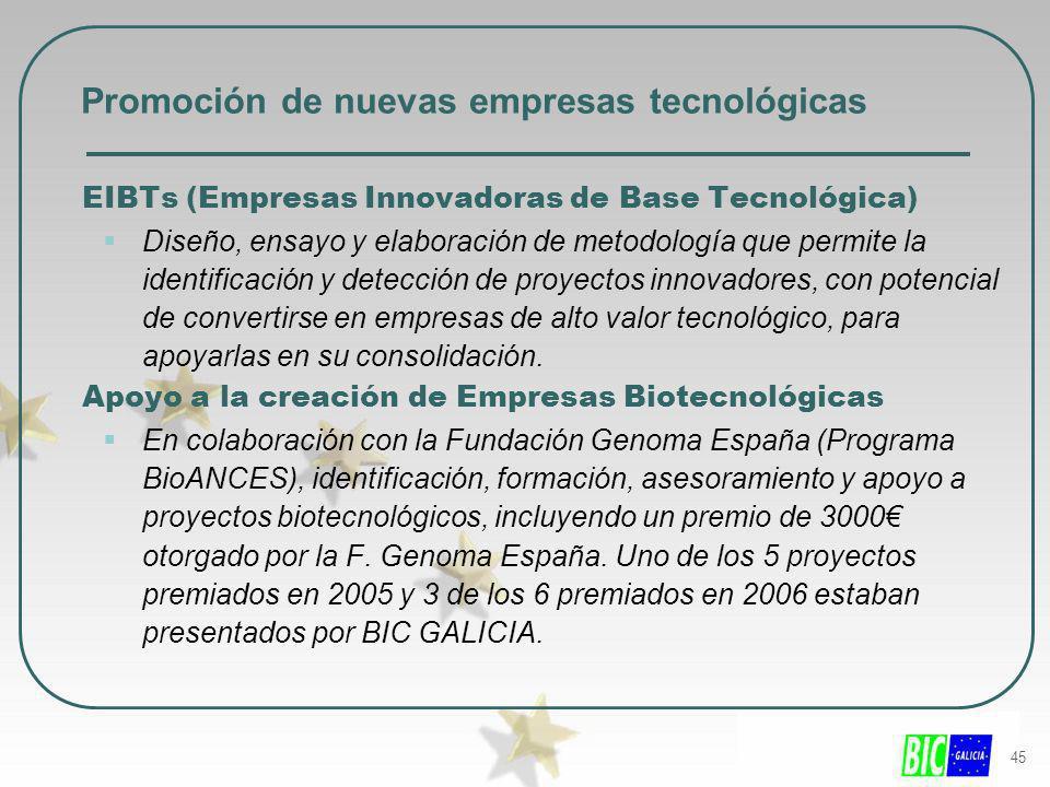 45 Promoción de nuevas empresas tecnológicas EIBTs (Empresas Innovadoras de Base Tecnológica) Diseño, ensayo y elaboración de metodología que permite