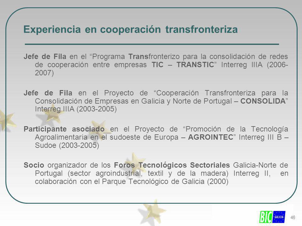 46 Experiencia en cooperación transfronteriza Jefe de Fila en el Programa Transfronterizo para la consolidación de redes de cooperación entre empresas