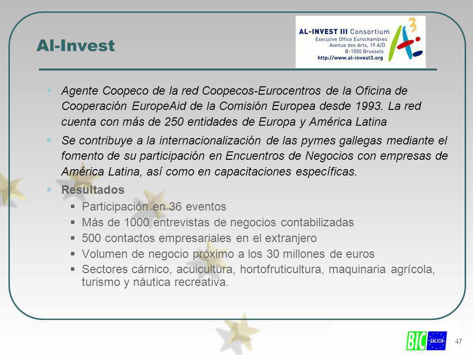 47 Al-Invest Agente Coopeco de la red Coopecos-Eurocentros de la Oficina de Cooperación EuropeAid de la Comisión Europea desde 1993. La red cuenta con