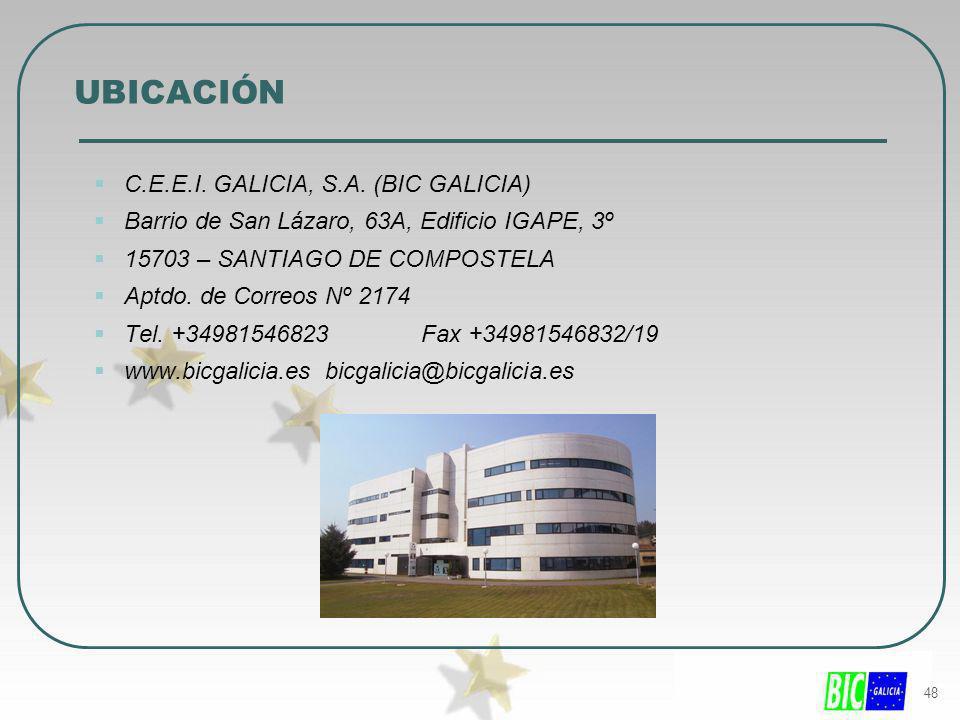 48 UBICACIÓN C.E.E.I. GALICIA, S.A. (BIC GALICIA) Barrio de San Lázaro, 63A, Edificio IGAPE, 3º 15703 – SANTIAGO DE COMPOSTELA Aptdo. de Correos Nº 21